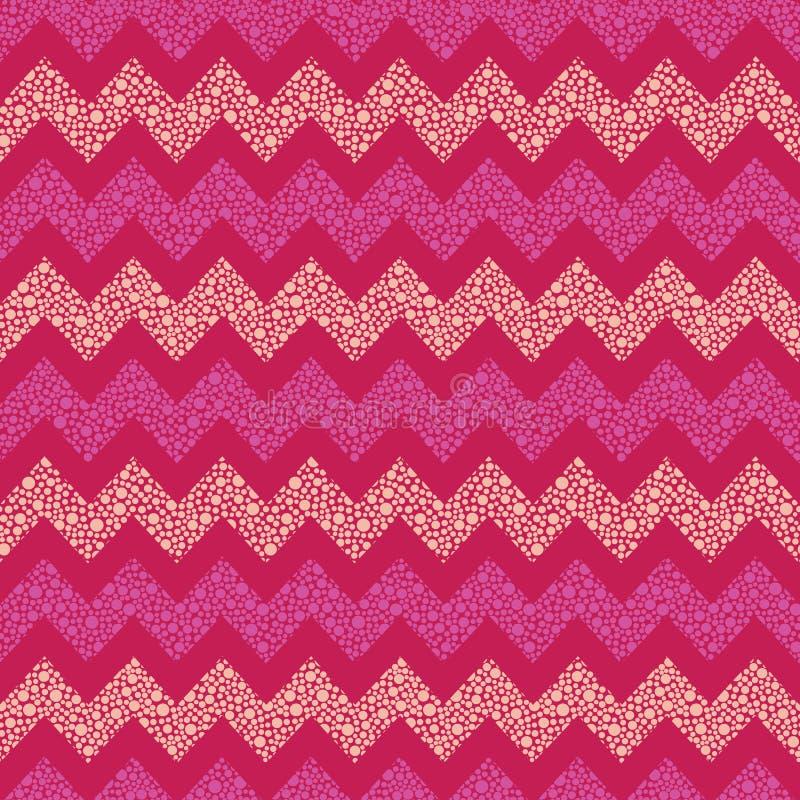 桃红色和红色乐趣加点了从小点创造的V形臂章无缝的传染媒介样式 织品的表面样式设计 皇族释放例证