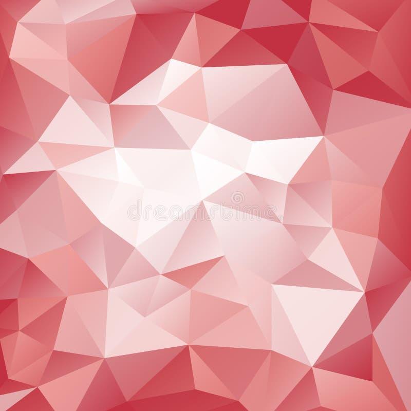 桃红色和红色多角形样式 三角几何背景 与三角形状的抽象样式 库存例证