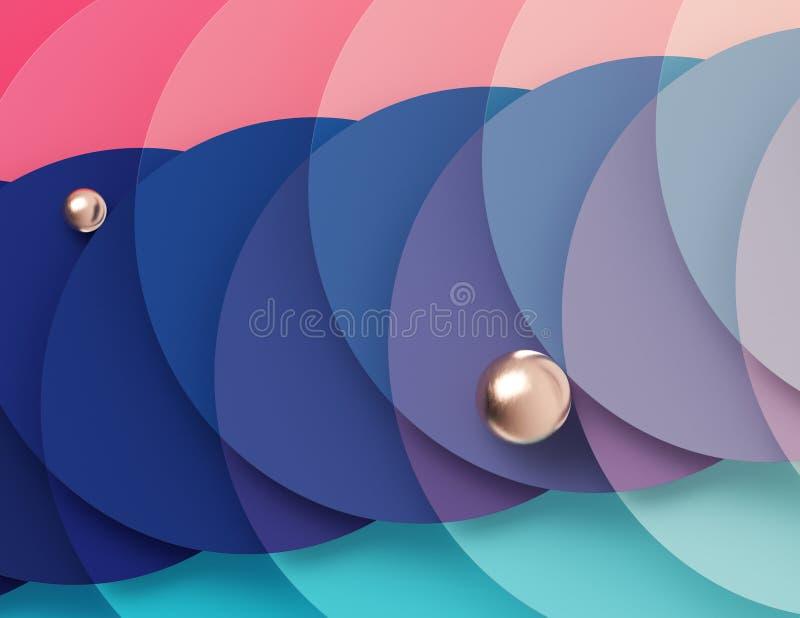 桃红色和绿松石圈子的交叉点形成的明亮的多彩多姿的几何背景 库存例证