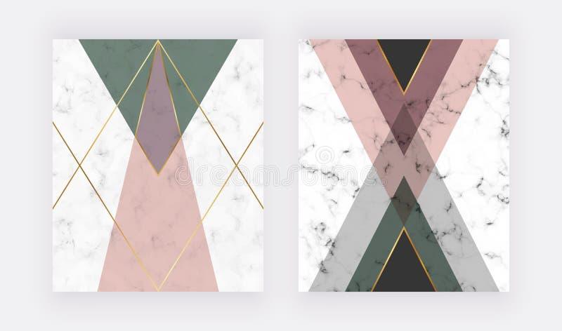 桃红色和绿色几何设计与金黄线 横幅的,飞行物,海报,婚礼邀请,卡片时尚设计 向量例证