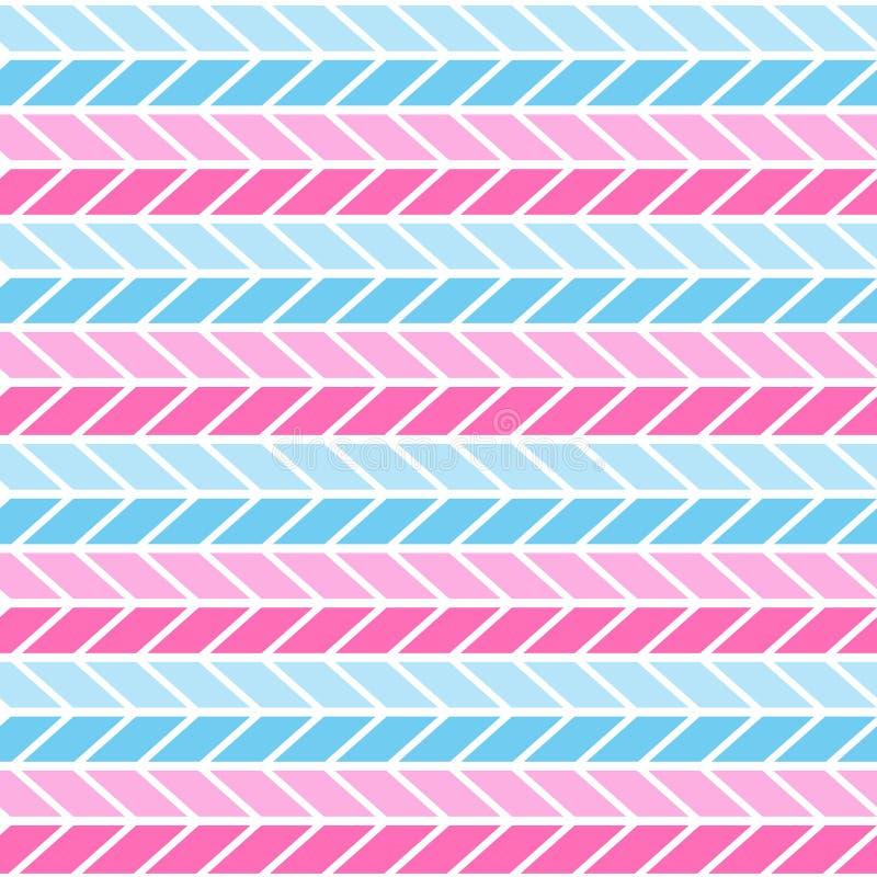 桃红色和蓝色几何无缝的Z形图案 V形臂章样式背景,包装纸,织品样式,墙纸 V形臂章 库存例证