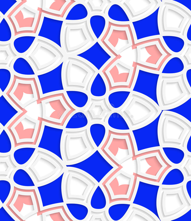 桃红色和蓝色几何花卉无缝的样式 库存例证