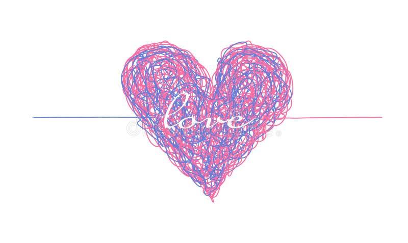 桃红色和蓝色复杂的被排行的心脏 皇族释放例证