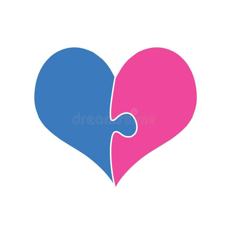 桃红色和蓝色心脏聚集两个难题片断 库存例证