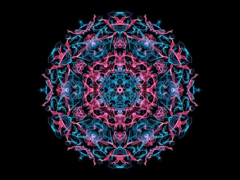 桃红色和蓝色抽象火焰坛场花,在黑背景的装饰花卉圆的样式 瑜伽题材 向量例证
