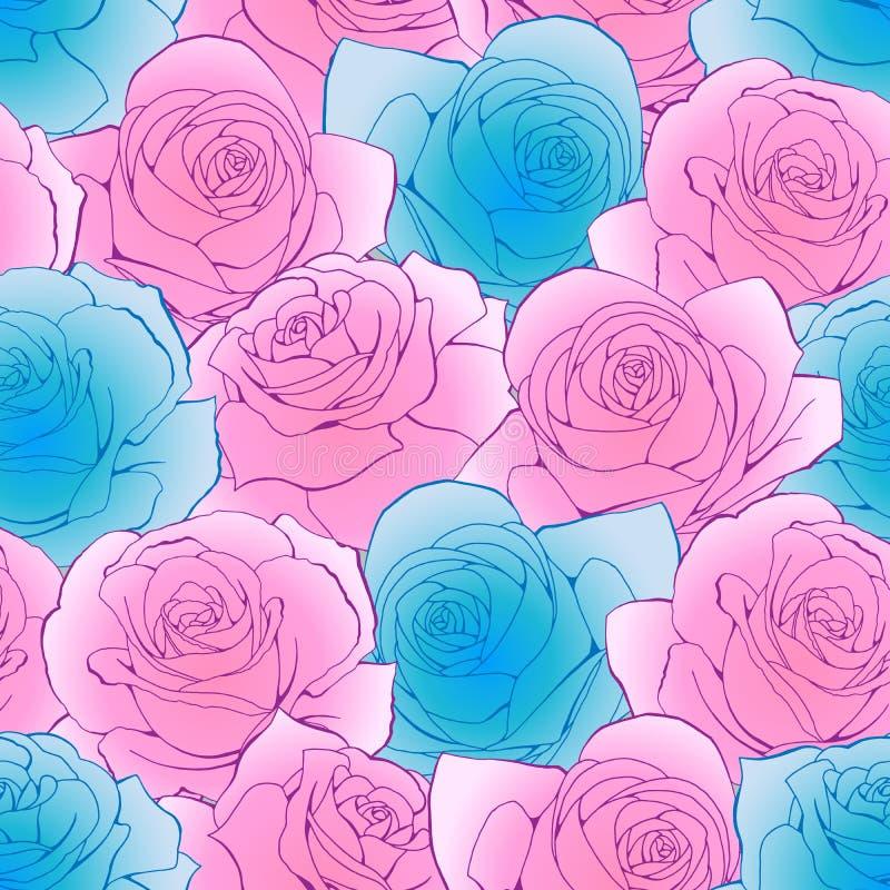 桃红色和蓝色玫瑰简化花 植物的无缝的背景样式 库存例证