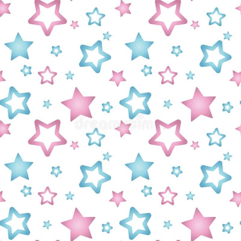 桃红色和蓝色珍珠层在无缝一个白色背景的样式担任主角 库存例证
