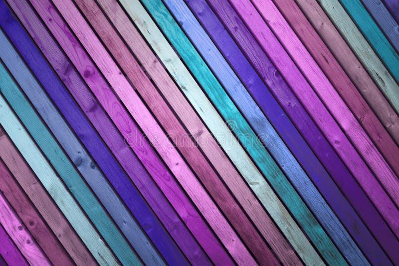 桃红色和蓝色色的木板条 库存图片