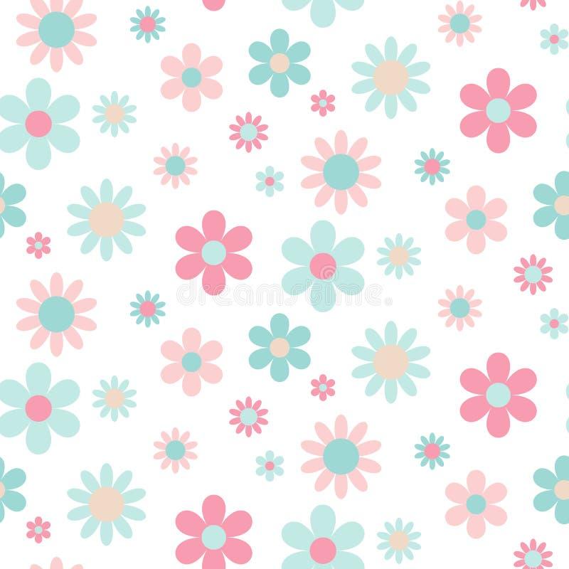桃红色和蓝色花的抽象无缝的样式 皇族释放例证