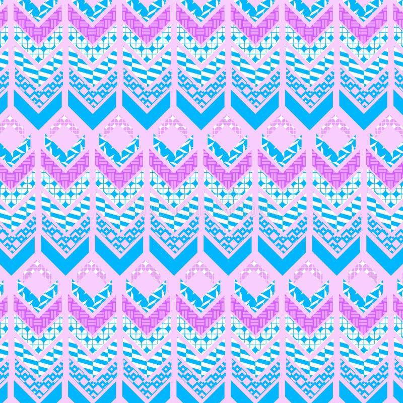 桃红色和蓝色部族装饰的几何重复的样式 向量例证