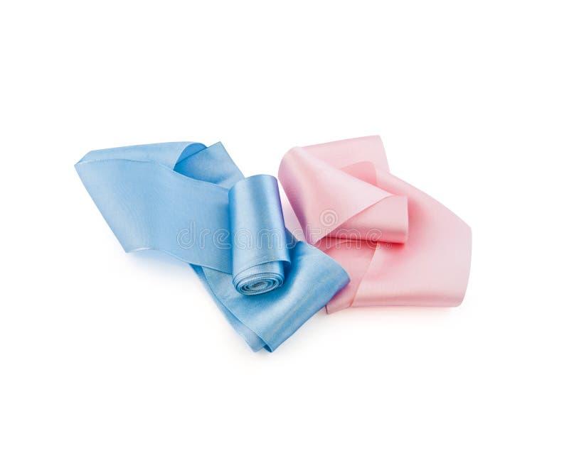 桃红色和蓝色颜色缎丝带两卷  库存图片