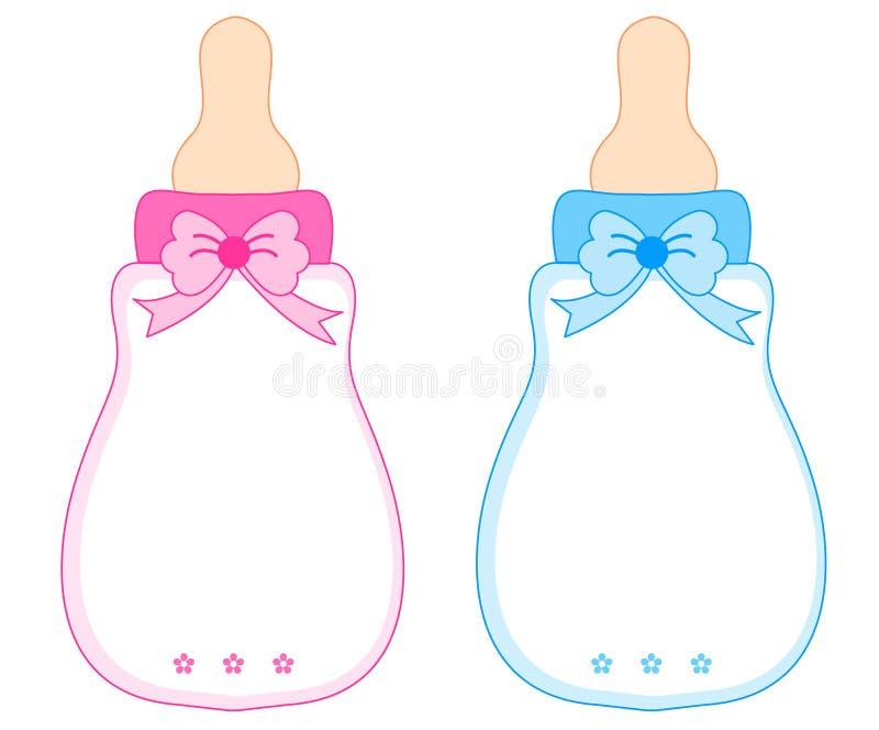 桃红色和蓝色婴儿瓶 库存例证