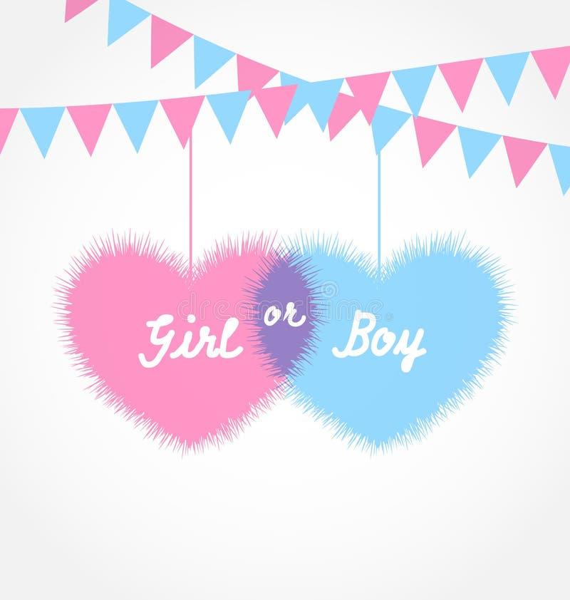 桃红色和蓝色婴儿阵雨在与垂悬的信号旗的形式心脏 向量例证