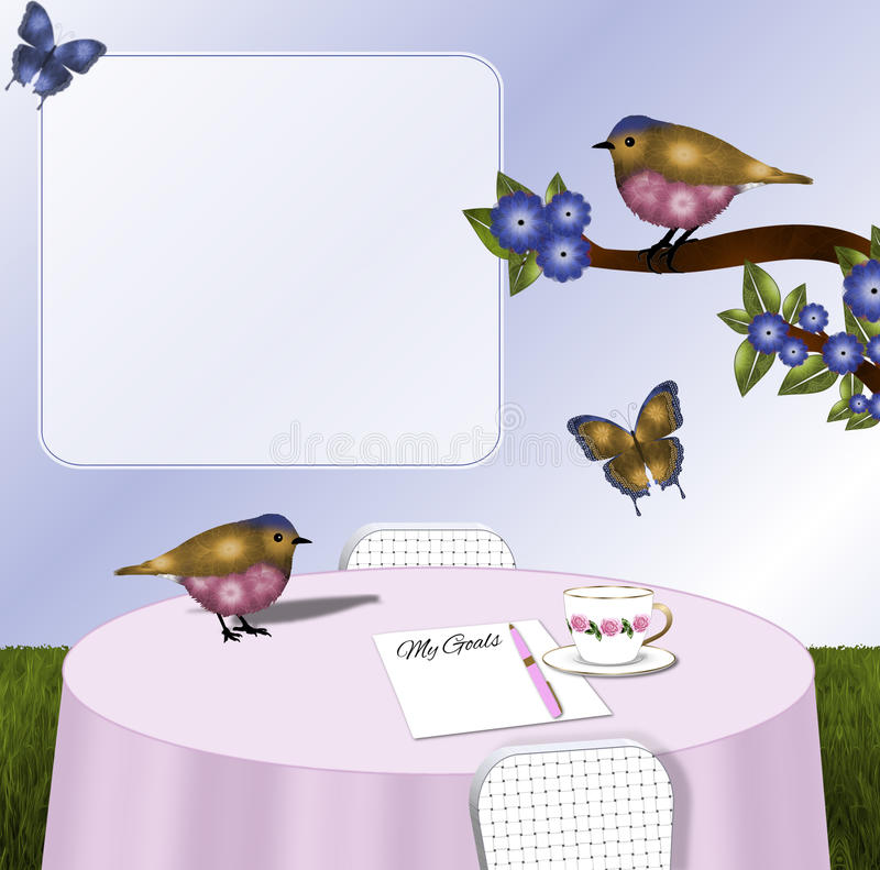 桃红色和金鸟和蝴蝶Tablescape背景 库存例证
