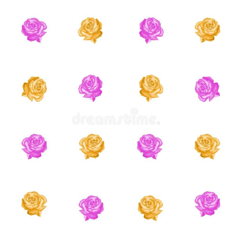 桃红色和黄色玫瑰的无缝的样式在白色背景 库存例证
