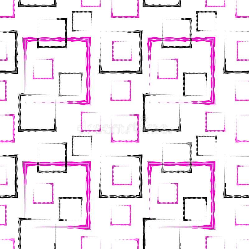 桃红色和黑被雕刻的正方形和框架的一个抽象白色背景或样式 向量例证