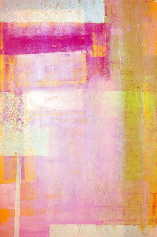 桃红色和黄色抽象派绘画 免版税库存照片