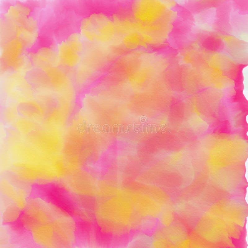 桃红色和黄色绘与水彩 向量例证