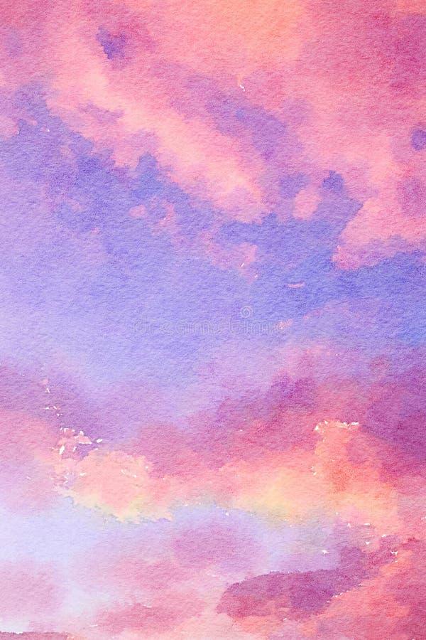 桃红色和紫色水彩背景 向量例证