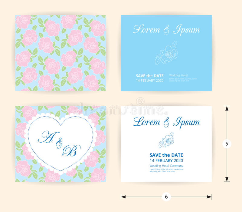 桃红色喜帖模板心脏象,在柔和的淡色彩玫瑰形状样式蓝色背景的白色名字标签 库存例证