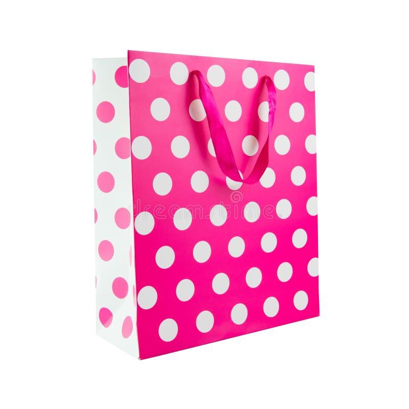 桃红色圆点礼物袋子 库存图片