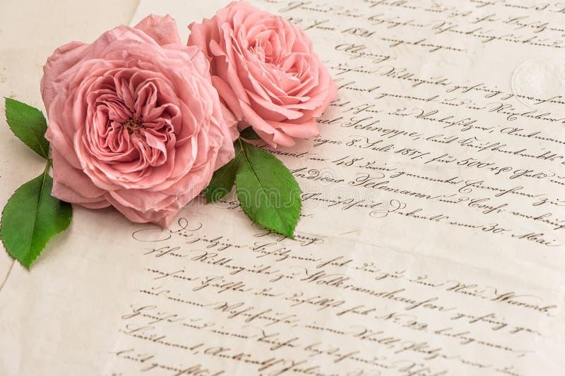 桃红色在古色古香的手写的信件的玫瑰花 图库摄影