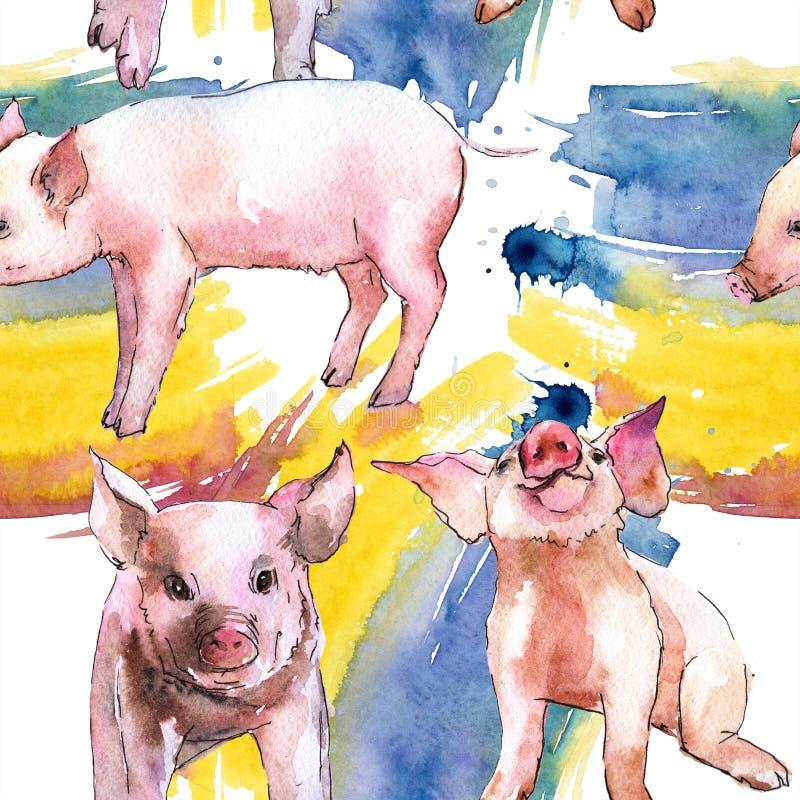 桃红色在水彩样式的猪野生动物被隔绝的 无缝的背景模式. 无缝, 滑稽.图片
