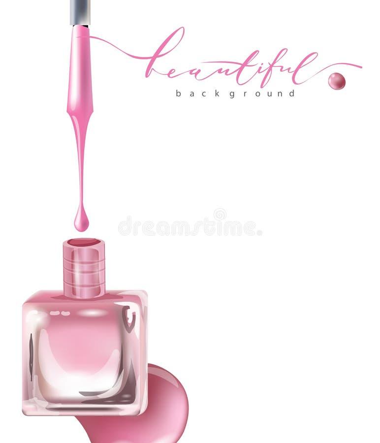 桃红色在玻璃瓶开放盒盖和指甲油颜色下落指甲油  模板传染媒介 库存例证