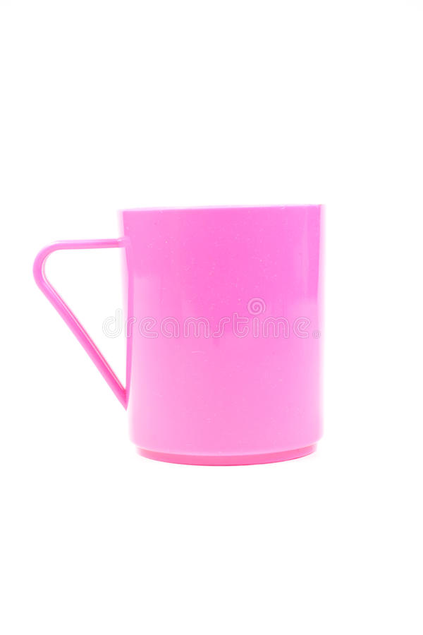 桃红色塑料杯 免版税库存图片