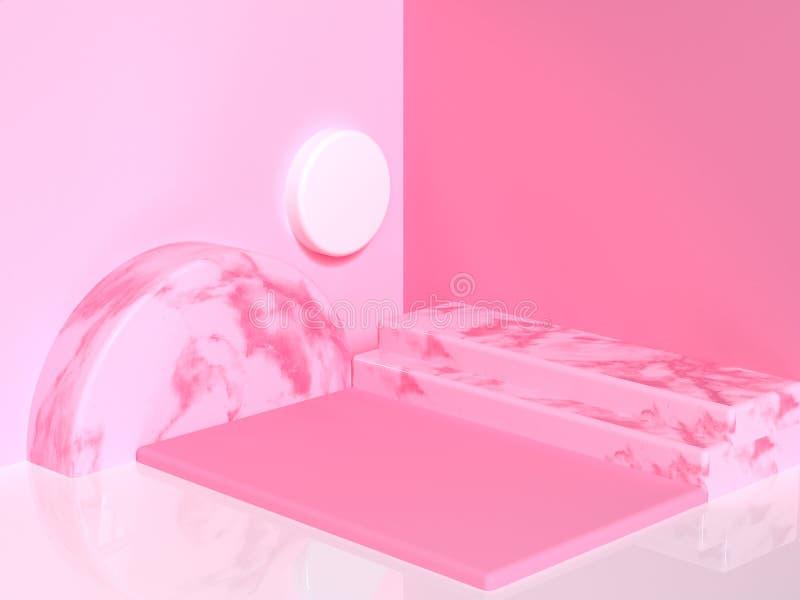 桃红色大理石纹理几何形状空白的抽象指挥台墙壁地板角落3d回报 皇族释放例证