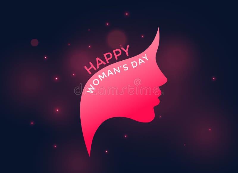 桃红色女性面孔为愉快的妇女` s天 库存例证