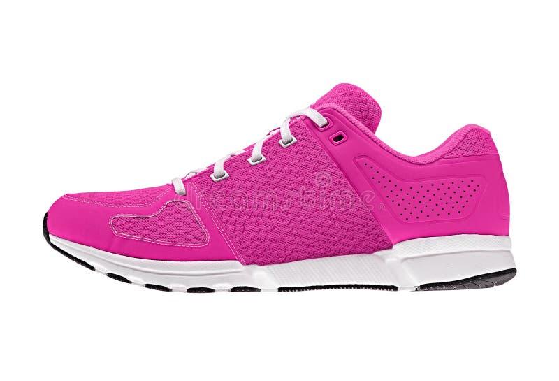 桃红色妇女的体育鞋子 免版税库存照片