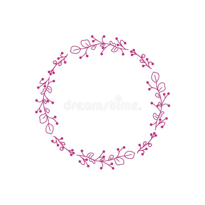 桃红色婚姻的花传染媒介 花卉框架请帖 花装饰元素   在白色背景的传染媒介框架 向量例证
