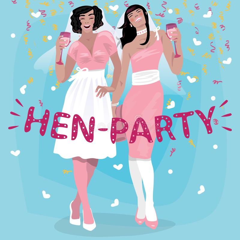 桃红色婚礼礼服欢迎的女孩到妇女的聚会 库存例证