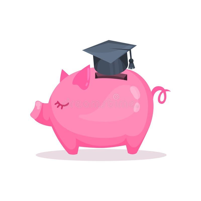 桃红色存钱罐和毕业,挽救和投资金钱概念动画片传染媒介例证 皇族释放例证