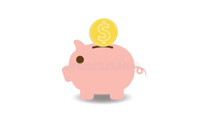 桃红色存钱罐和金币的动画片图象 库存例证