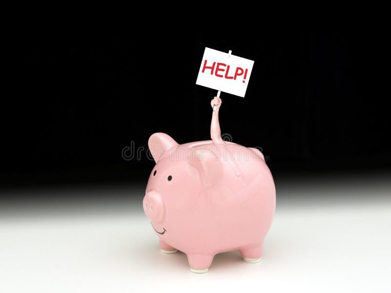 桃红色存钱罐在人里面阻止帮助下!标志 免版税图库摄影