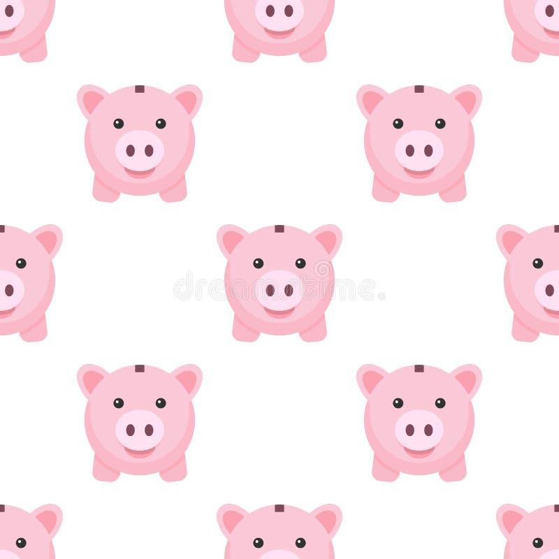 桃红色存钱罐平的象无缝的样式