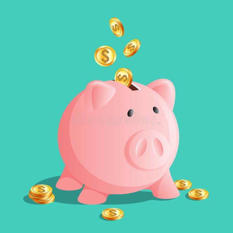 桃红色存钱罐象,与冷的硬币的moneybox 向量例证