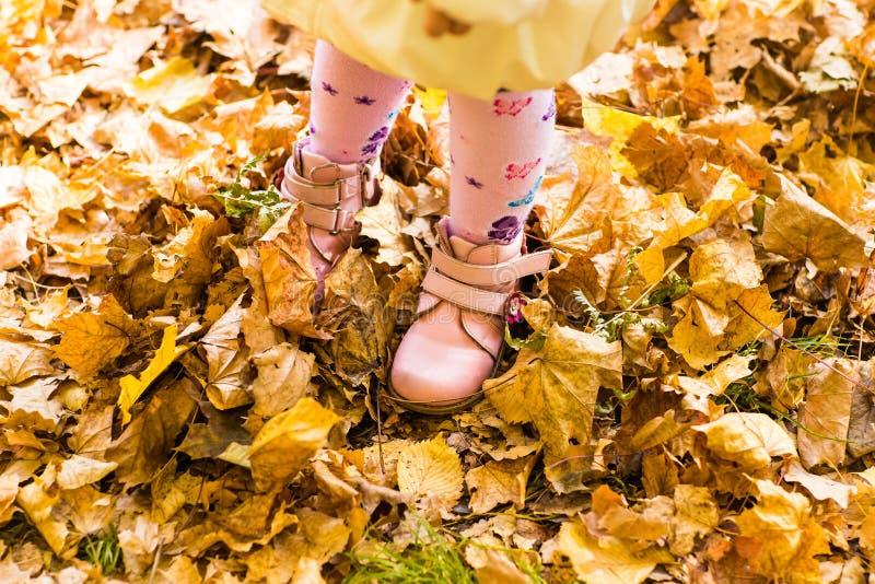 桃红色孩子鞋子和黄色叶子 库存图片