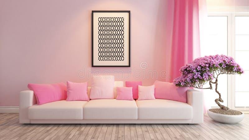桃红色客厅或交谊厅室内设计翻译 库存例证
