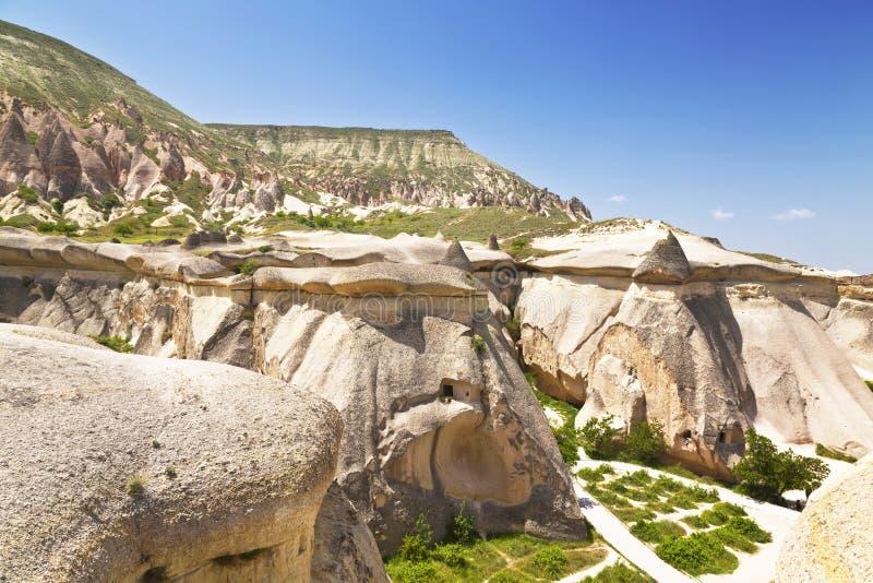 桃红色岩石, Goreme,卡帕多细亚,中央安纳托利亚,土耳其 免版税库存照片
