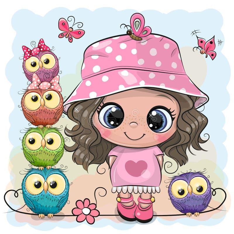 桃红色巴拿马草帽和猫头鹰的动画片女孩 向量例证