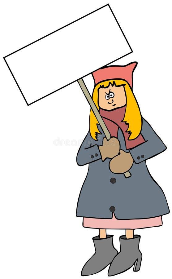 桃红色帽子抗议者 库存例证