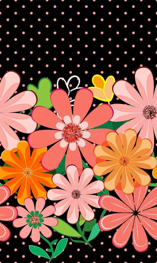 桃红色庭院、生动的五颜六色的花卉边界在圆点样式和黑背景 向量例证