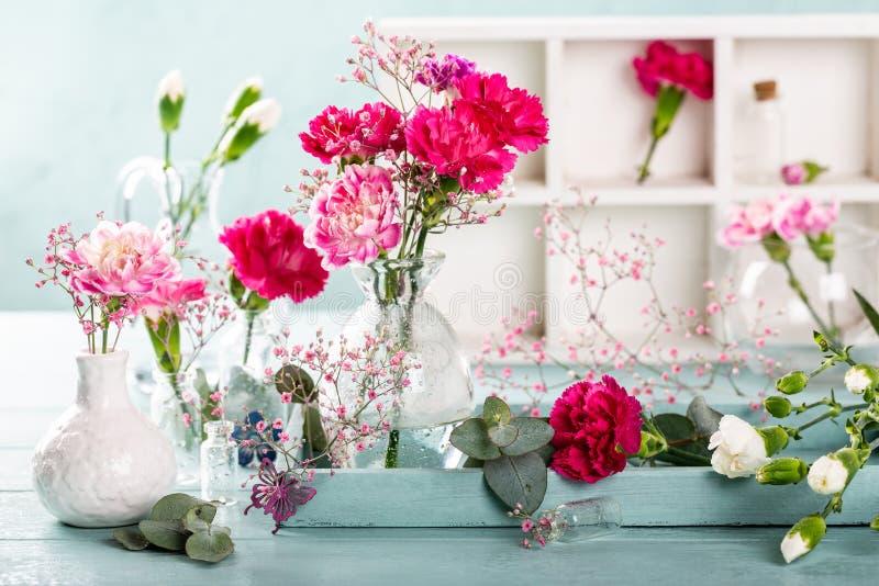 桃红色康乃馨花束在轻的绿松石木背景的 免版税库存图片