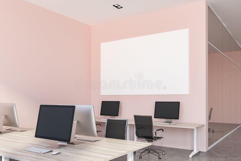 桃红色开放学制办事处内部,海报接近  向量例证