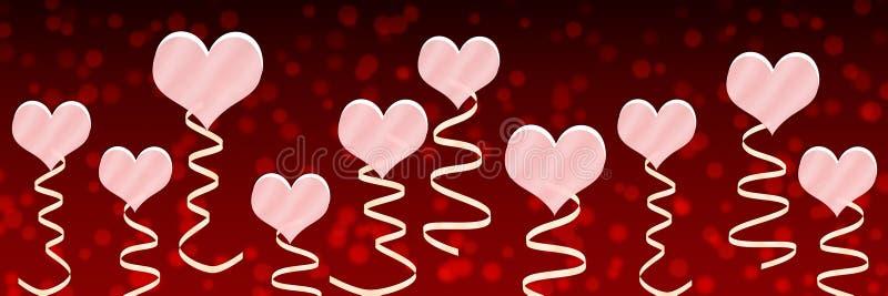 桃红色心脏和丝带在红色背景中 库存例证