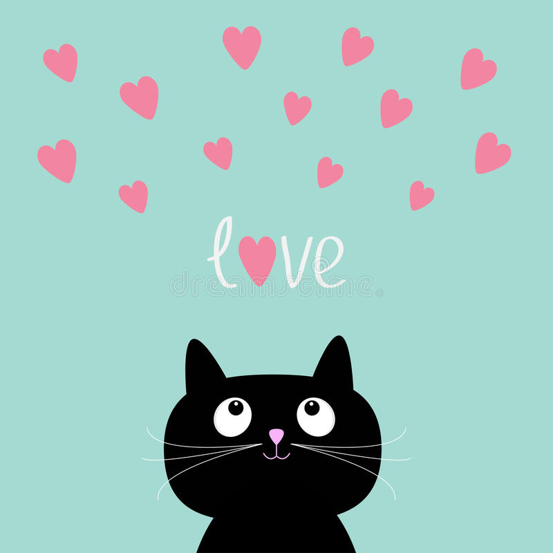 桃红色心脏和逗人喜爱的动画片猫 平的设计样式 皇族释放例证