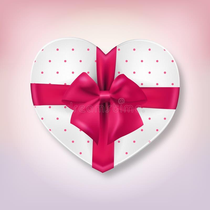 桃红色心脏形状礼物盒 库存例证